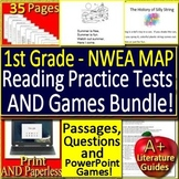 1st Grade NWEA MAP Primary Reading Test Prep Practice Assessment + Games Bundle!