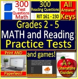 NWEA MAP Reading and Math Practice Tests Games Bundle RIT 161 - 230 Grades 2 - 5