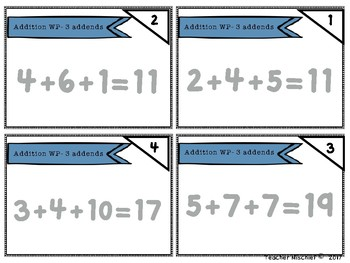 NWEA MAP Math Cards- Addition Word Problems- 3 Addends within 20