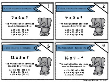 NWEA MAP Math Cards- Multiplication (decompose)