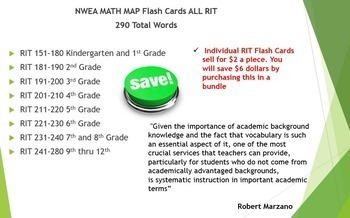 NWEA MAP Math Test Foldover/Flash Cards Complete Vocabulary RIT Bundle (151-280)