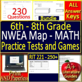 NWEA MAP Math RIT Bands 201 - 250+ Grades 6 - 8 Google Ready Bundle!