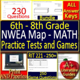 NWEA MAP Math RIT Bands 201 - 250+ Grades 6 - 8 Practice Tests and Games Bundle!