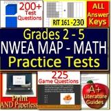 NWEA MAP Math Practice Tests + Games Bundle! RIT Range 161 - 230 Grades 2 - 5
