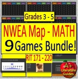 NWEA MAP - Test Prep Math Games Bundle of 9 - Grades 3 - 5 (RIT 171 - 220)
