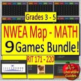 NWEA MAP - Test Prep Math Games Bundle of 9 - Grades 3 - 5 (RIT 171 - 220)