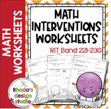 NWEA MAP Prep Math Practice Worksheets RIT Band 221-230 Interventions