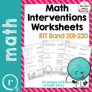 NWEA MAP Prep Math Worksheets RIT Band 180-220 Interventions Bundle