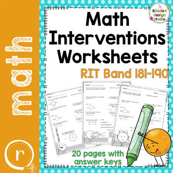 NWEA MAP Test Prep Math Worksheets RIT Band 180-220 Interventions Bundle