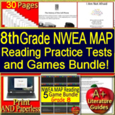 8th Grade NWEA MAP Reading Test Prep Practice Assessments and Games Bundle!
