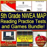 5th Grade NWEA MAP Reading Test Prep and Games - Print AND SELF-GRADING GOOGLE!