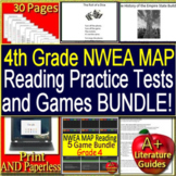 4th Grade NWEA MAP Reading Test Prep Practice Assessments and Games Bundle!