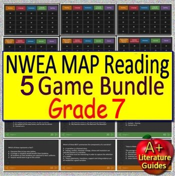 NWEA MAP Seventh Grade Reading Test Prep Practice Tests and Games Bundle!