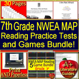 7th Grade NWEA MAP Reading Test Prep Practice Assessments and Games Bundle!