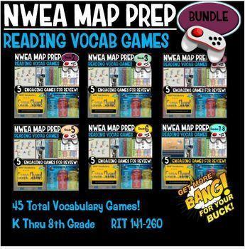 End of Year No Prep Reading Vocabulary Games 1st thru 8th Grade