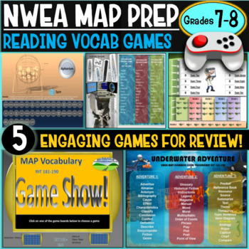 End of year No Prep NWEA MAP Prep Reading Games 7th and 8th Grade RIT 221-260