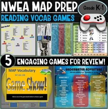 NWEA MAP No Prep Reading Games K and 1st Grade RIT 141-170