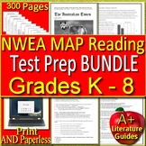 NWEA MAP Prep Reading Passages + Questions Test Bundle Grades K – 8 Google Ready