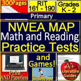 Kindergarten - 2nd Grade NWEA MAP Math and Reading Tests + Games Bundle 161-190
