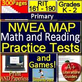 Kindergarten - 2nd Grade NWEA MAP Math and Reading Tests + Games Bundle 161-190