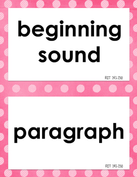 NWEA MAP Reading Academic Vocabulary Word Wall RIT 141-190, Color Coded