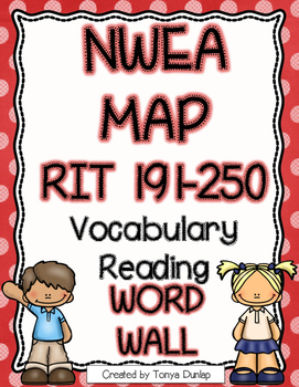 NWEA MAP Reading Academic Vocabulary Word Wall RIT 191-250, Color Coded