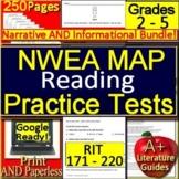 NWEA MAP Reading RIT Bands 171 - 220 Test Prep Grades 2 - 5 SELF-GRADING GOOGLE!