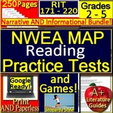 NWEA MAP Reading RIT Range 171 - 220 Grades 2 - 5 Practice Tests + Games Bundle!