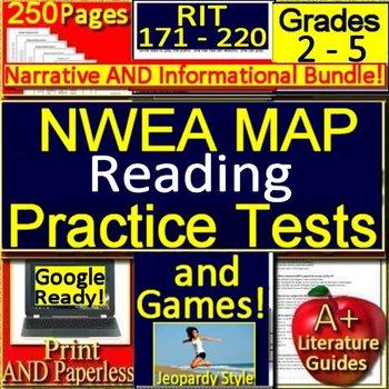 NWEA MAP Reading RIT Range 171 - 230 Grades 2 - 5 Practice Tests + Games  Bundle!