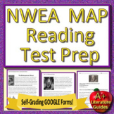 6th Grade NWEA MAP Reading Test Prep - Printable AND SELF-GRADING GOOGLE QUIZZES