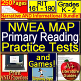 NWEA MAP Primary Reading Prep K - 2 Practice Tests + Games  - RIT 161 - 190