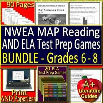 NWEA MAP Reading Test Prep and Games HUGE Bundle - Practice Tests Grades 5 - 8