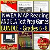 NWEA MAP Reading ELA & Language Usage Test Prep SELF-GRADING Test & Game Bundle