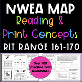 NWEA MAP Reading and Print Concepts - RIT RANGE 161-170 Pr