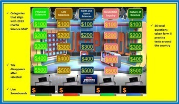 Science Quizzes, Flash Cards and Game Show Bundle 5th and 6th Grade