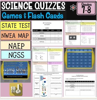 Science Quizzes, Flash Cards and Game Show Bundle 7th and 8th Grade