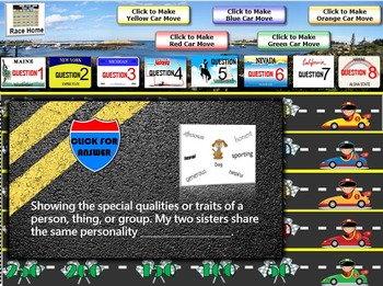 MAP TEST READING VOCABULARY GAME - Road Trip (RIT BANDS 181-190)