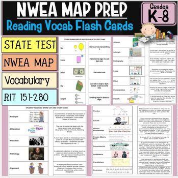 NWEA MAP Prep Reading Flash Cards Complete RIT