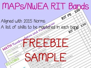 NWEA MAPs RIT Band Math and Reading FREEBIE