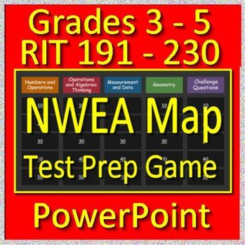 NWEA Map Math Test Prep Game RIT Bands 191 - 230 (Grades 3 - 5) - PowerPoint