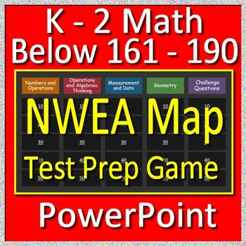 NWEA Map Primary Math Test Prep Game RIT Bands Below 161 -190 (K - 2)