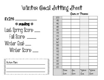 NWEA Map Winter Goal Setting Worksheet