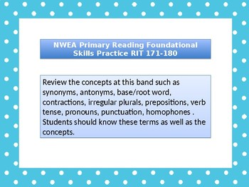 NWEA Primary Reading Foundational RIT 171-180