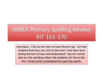 Back to School NWEA Primary Reading Spelling RIT 161-170