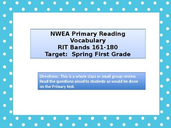Back to School NWEA Primary Reading Vocabulary Review RIT 161-180