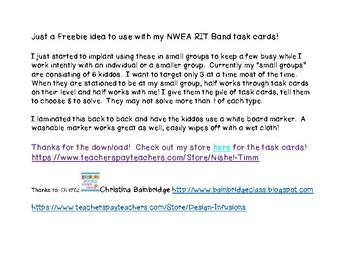 NWEA RIT Band task card organizer