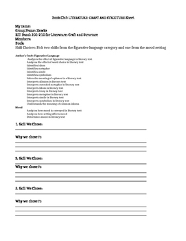 NWEA RIT LITERATURE: Craft and Structure Skill Based Book Club/GR-Personalized