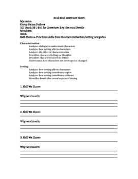 NWEA RIT LITERATURE: Key Ideas and Details Skill Based Book Club/GR-Personalized