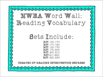 NWEA Word Wall: Reading Vocabulary RIT: 161-230