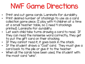 Nonsense Word Fluency Christmas Game